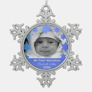 Personalised First Hanukkah Snowflake Pewter Christmas Ornament