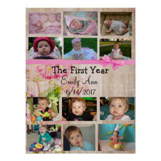 Personalised First Year Collage Baby Photo Poster