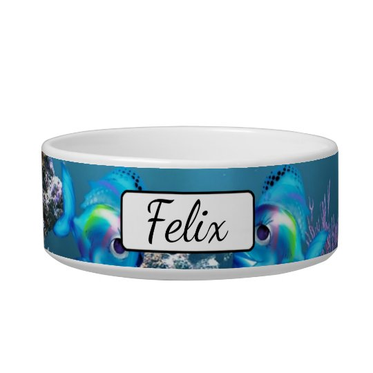 Personalised Fish Aquarium Blue  Cat Bowl