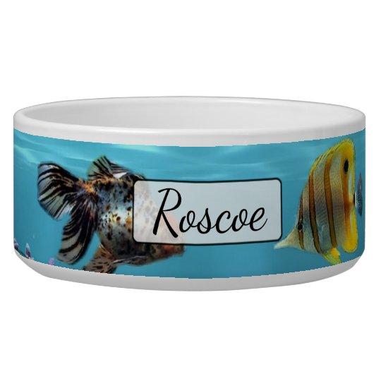 Personalised Fish Aquarium Blue  Dog Bowl
