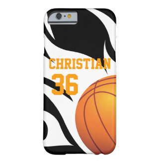 Personalised Flaming Basketball B/W Barely There iPhone 6 Case