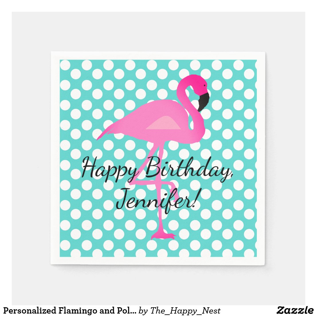 Personalised Flamingo and Polka Dot Paper Napkin