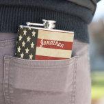 Personalised Flask American Vintage Flag