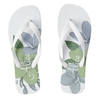 Personalised  Flip Flops -Flowers