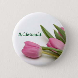 Personalised Floral Bridesmaid/Bridal Party 6 Cm Round Badge