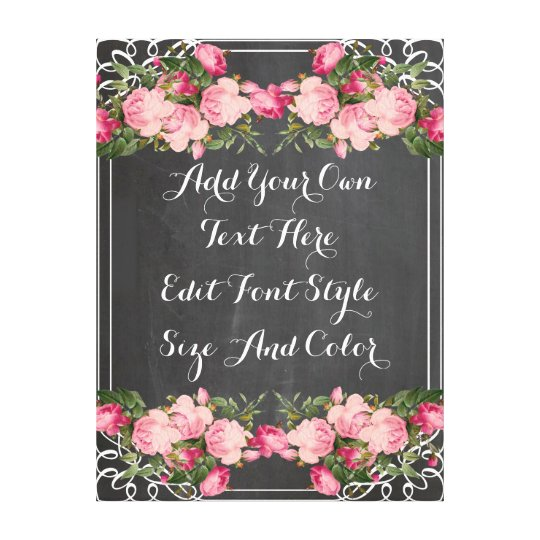 Personalised floral chalkboard quote canvas print