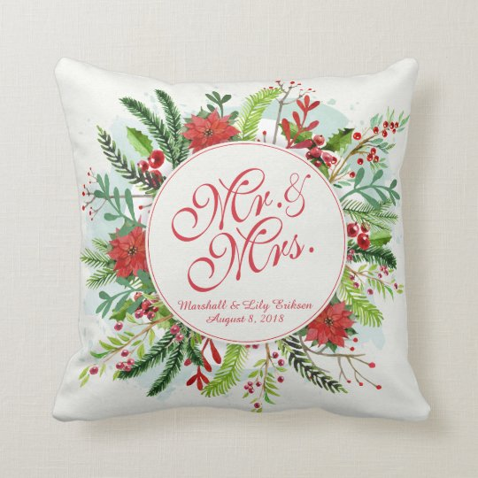 Personalised Floral Christmas Wedding Pillow