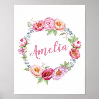 Personalised Floral peonies name poster print