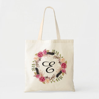 Personalised Floral Tote Bag Bridesmaid Bohemian