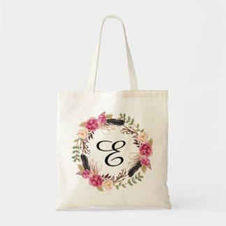 Personalised Floral Tote Bag Bridesmaid Bohemian