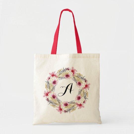 Personalised Floral Tote Bag. Wreath Tote