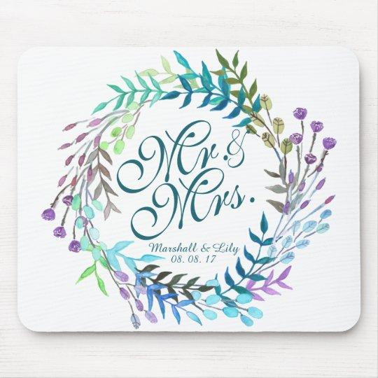 Personalised Floral Watercolor Wedding   Mousepad