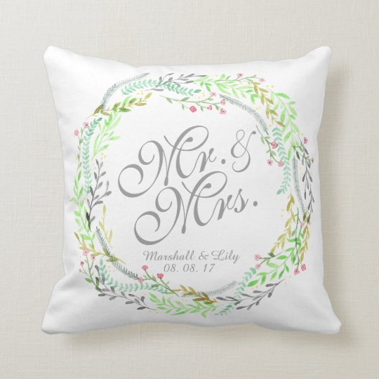Personalised Floral Watercolor Wedding Pillow