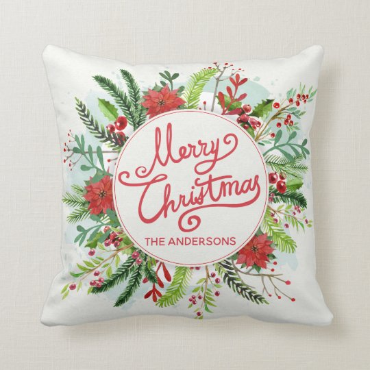 Personalised Floral Wreath Christmas Throw Pillow