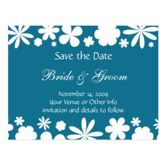 Personalised Flower Power Save the Date Postcard