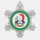 Personalised Flute Christmas Penguin Snowflake Pewter Christmas Ornament