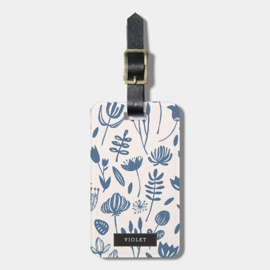 Personalised | Folk Botanical Print Luggage Tag