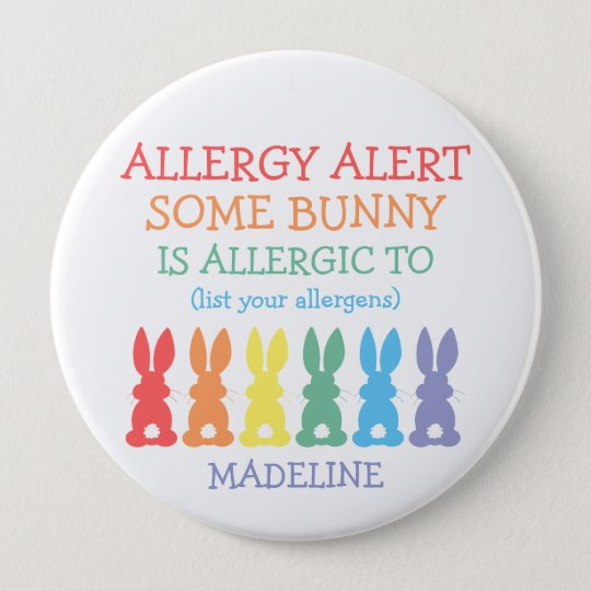 Personalised Food Allergy Alert Easter Bunny Kids 10