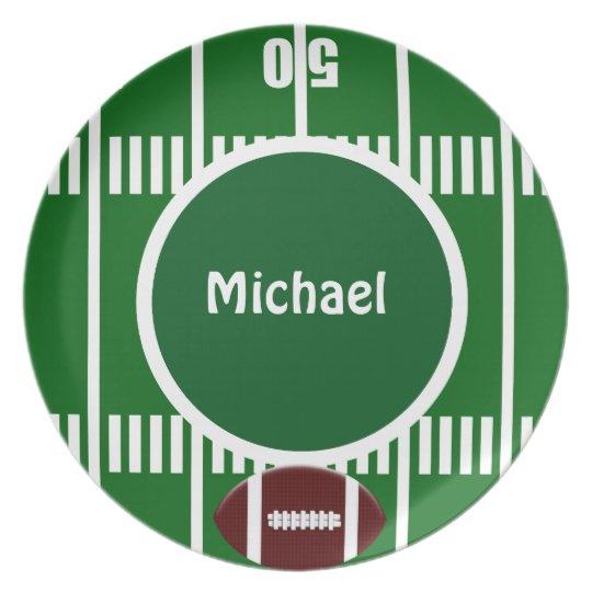 Personalised Football 50 Yard Line Plate