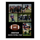 Personalised Football 5 Photo Collage Name Team # Poster