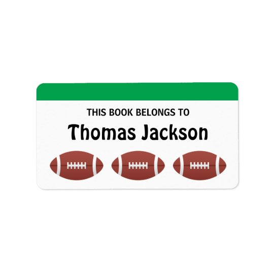 Personalised football cartoon bookplates for kids label