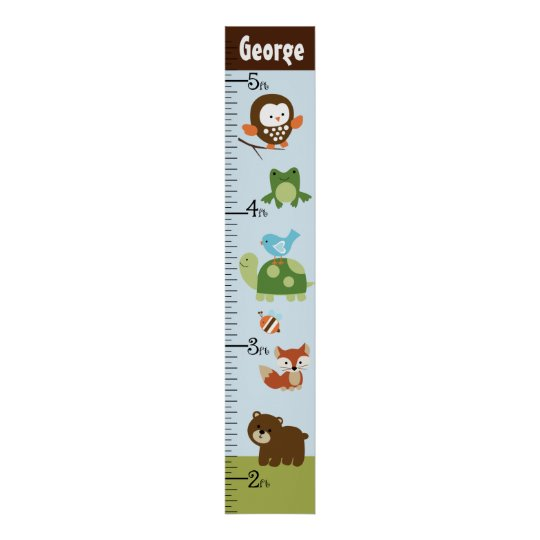 Personalised Forest Friends Animals Growth Chart Poster