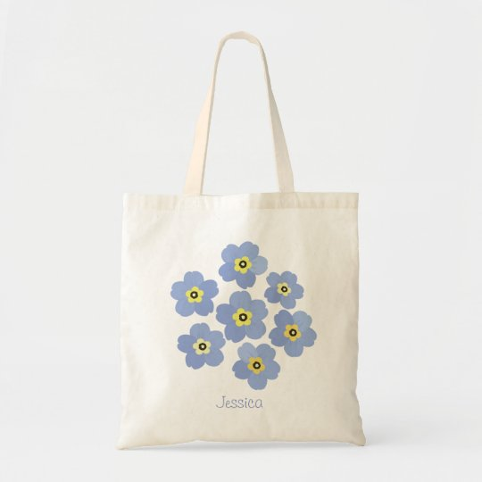 Personalised Forget me not blue flower Tote Bag