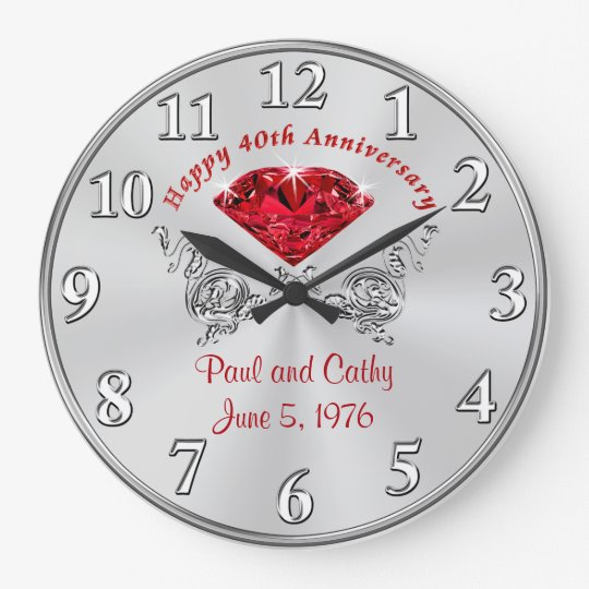 Personalised Fortieth RUBY Anniversary Gift Clock