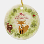 Personalised Fox and Wreath Baby's First Christmas Round Ceramic Decoration
