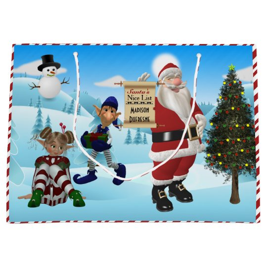 Personalised From Santa North Pole Large Gift Bag