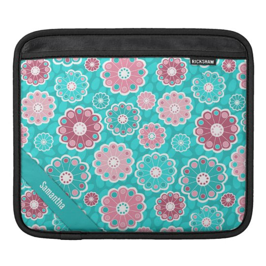 Personalised fun and stylish pink and aqua floral iPad sleeve
