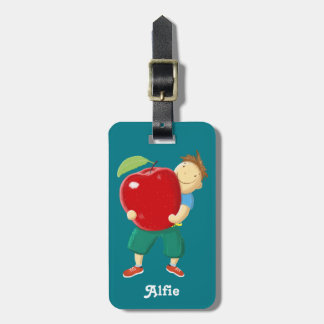 Personalised Fun Boy With Apple Kids Tags For Luggage