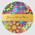 Personalised Funky Boho Floral Flame Mandalas Classic Round Sticker