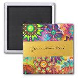 Personalised Funky Boho Floral Flame Mandalas Square Magnet