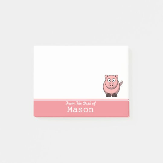 Personalised Funny Fat Pink Pig Post-it Notes