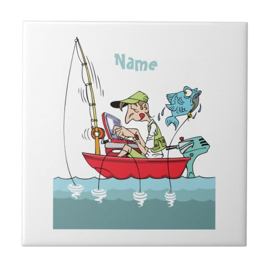 Personalised Funny Fishing Cartoon Tile