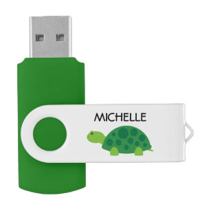 Personalised funny green turtle USB flash drive
