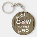 Personalised Funny Holy Cow 50th Birthday Keychain