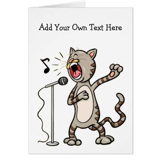 Personalised Funny Singing Cat Greeting Cards