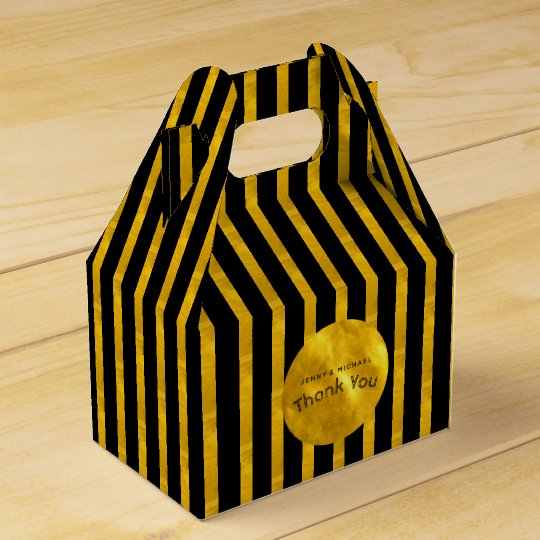 Personalised Gable Boxes Black GOLD Stripes