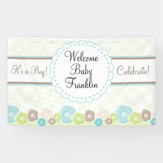 Personalised Garden Boys Baby Shower Banner