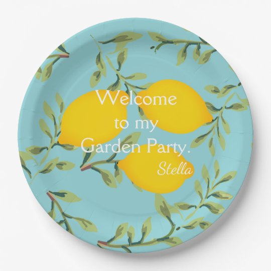 Personalised Garden Party Lemon Paper Plates