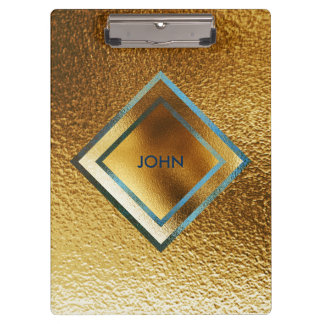 Personalised Geometric Gold Metallic Clipboard
