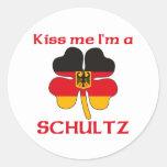 Personalised German Kiss Me I'm Schultz Round Sticker