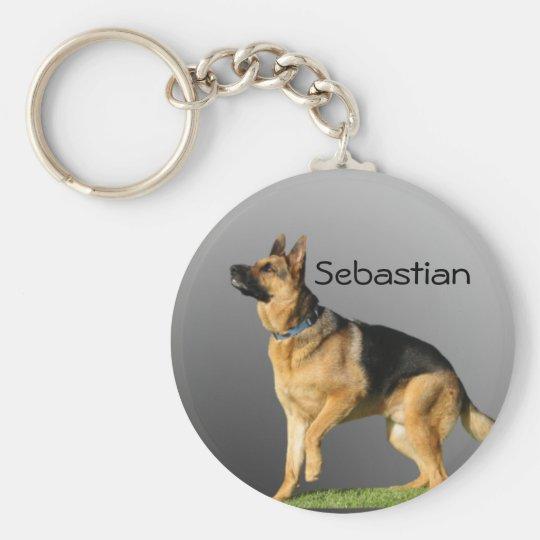 Personalised German Shepherd Basic Round Button Key Ring