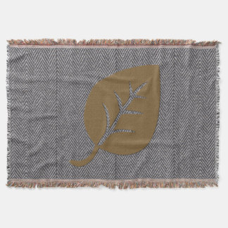 Personalised  Giant Leaf Grey Throw Blanket