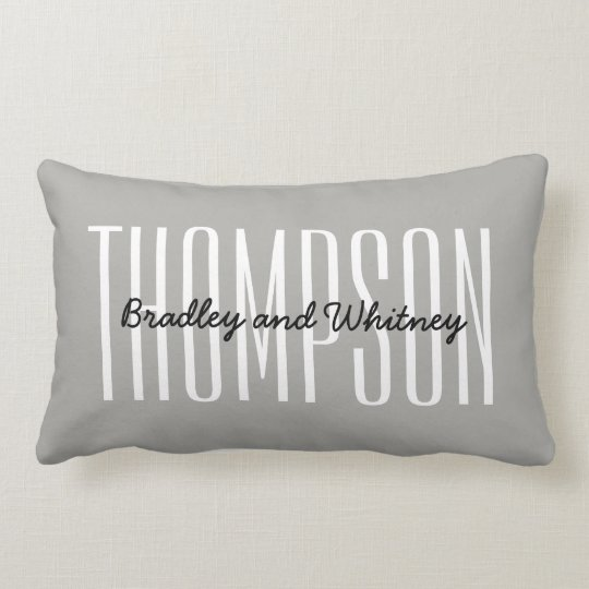 Personalised Gift Modern Grey Family Name Lumbar Cushion