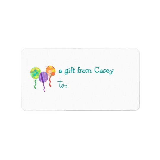 Personalised gift tag label -- balloon address label