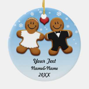 Personalised Gingerbread Bride And Groom Ornament