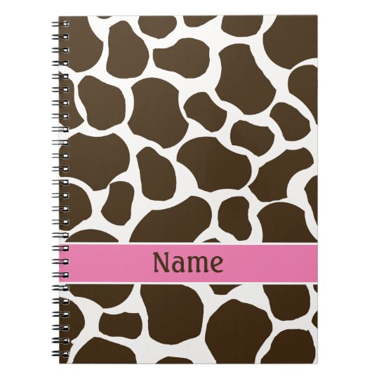 Personalised Giraffe Print Notebook